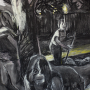 """Backyard, 2016<br>charcoal & pastel on paper<br>50"""" x 38"""""""