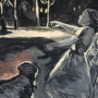 """Night in the Playground, 2015<br>charcoal & pastel on paper<br>50"""" x 38"""""""