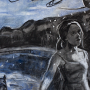 """Pool Scene, 2015<br>charcoal & pastel on paper<br>50"""" x 38"""""""