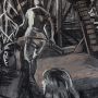 """Structure in the Woods, 2016<br>charcoal & pastel on paper<br>50"""" x 38"""""""